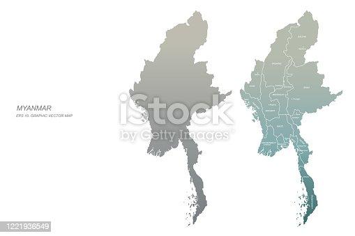 myanmar map. vector map of myanmar in asia