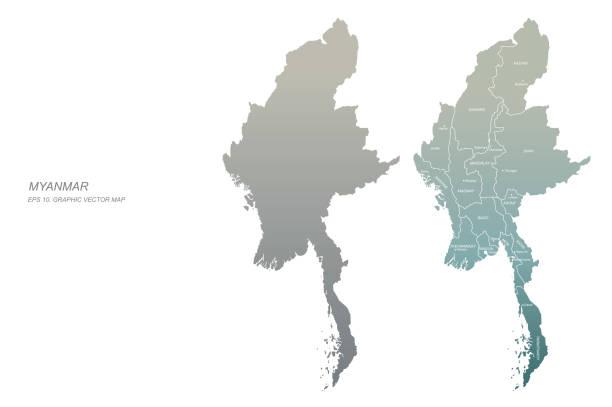stockillustraties, clipart, cartoons en iconen met myanmar kaart. vectorkaart van myanmar in azië - myanmar