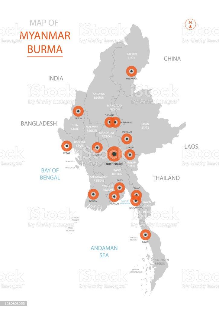 Birmanie Carte Regions.Carte De Myanmar Avec Des Divisions Administratives Vecteurs