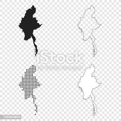 Map of Myanmar for your own design. With space for your text and your background. Four maps included in the bundle: - One black map. - One blank map with only a thin black outline (in a line art style). - One mosaic map. - One white map with a thin black outline. The 4 maps are isolated on a blank background (for easy change background or texture).The layers are named to facilitate your customization. Vector Illustration (EPS10, well layered and grouped). Easy to edit, manipulate, resize or colorize.