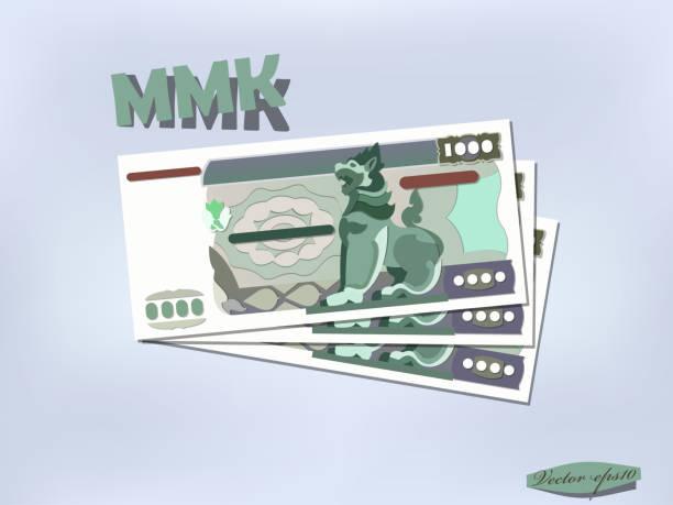 stockillustraties, clipart, cartoons en iconen met myanmar geld papier ontwerp - myanmar