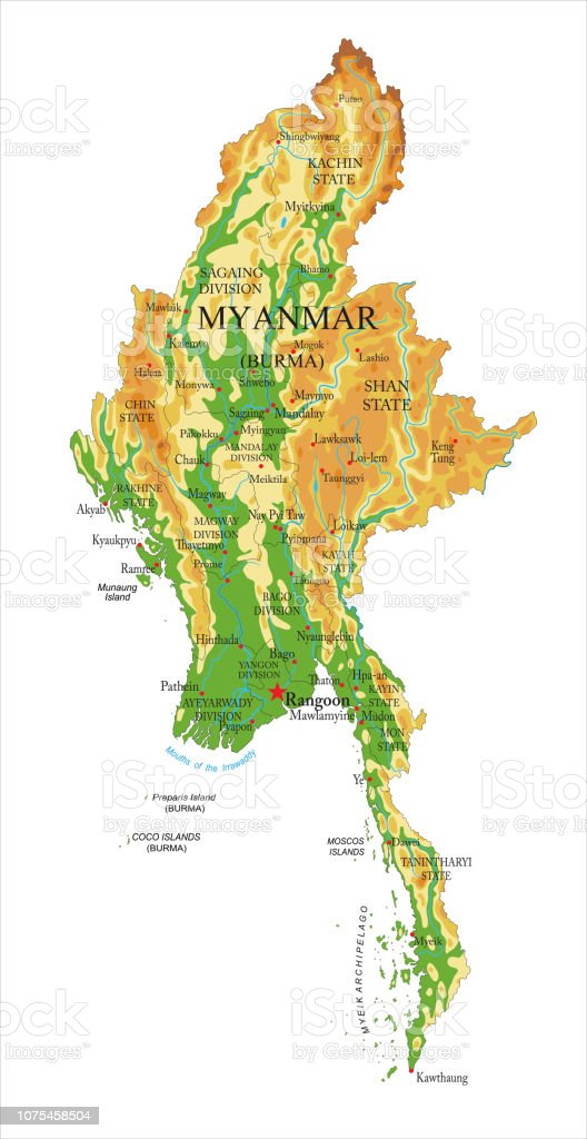 Myanmar Physical Map Stock Illustration - Download Image Now ...
