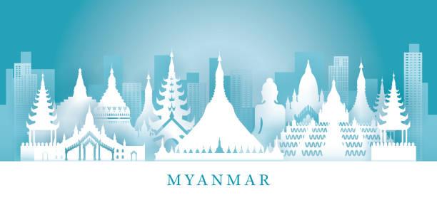 stockillustraties, clipart, cartoons en iconen met myanmar skyline bezienswaardigheden in papier snijden stijl - myanmar