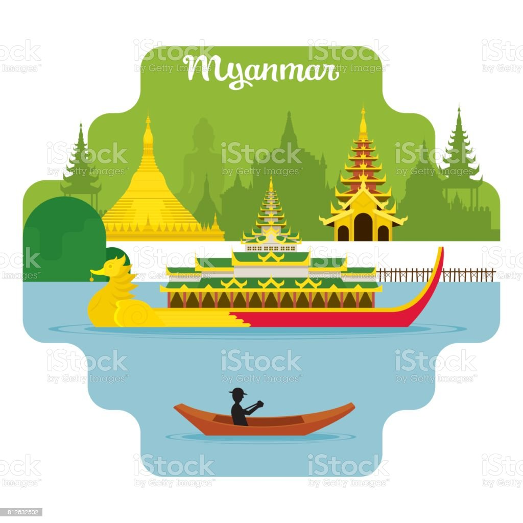 Myanmar Travel and Attraction Landmarks vector art illustration