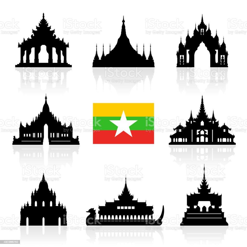 Myanmar Travel Landmarks. vector art illustration