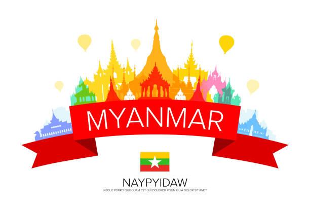 stockillustraties, clipart, cartoons en iconen met myanmar reizen monumenten. - myanmar