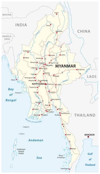 stockillustraties, clipart, cartoons en iconen met myanmar vector routekaart met belangrijke steden - myanmar