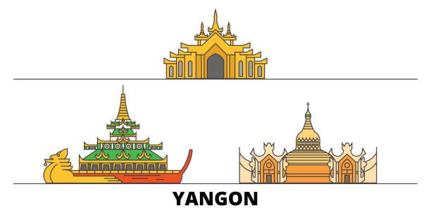 myanmar, yangon flat landmarks vector illustration. myanmar, yangon line city with famous travel sights, skyline, design. - burma home do stock illustrations