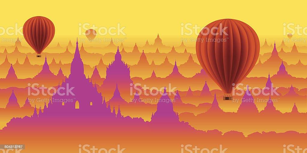 myanmar,panorama,balloon,exclusive,travel vector art illustration