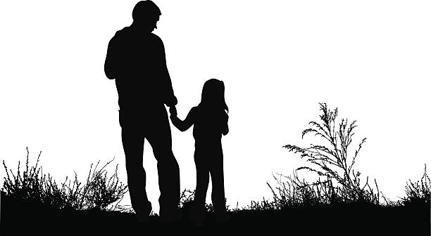 MyDaddy A father and daughter hold hands outside. daughter stock illustrations