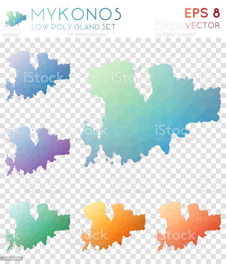 Karte Griechenland Mykonos.Mykonos Geometrische Polygonale Karten Mosaikstil Insel Sammlung