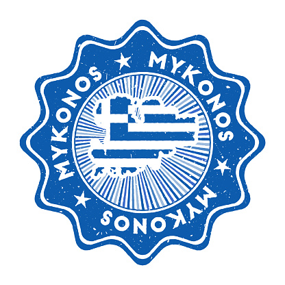 Mykonos round grunge stamp with island map and country flag.