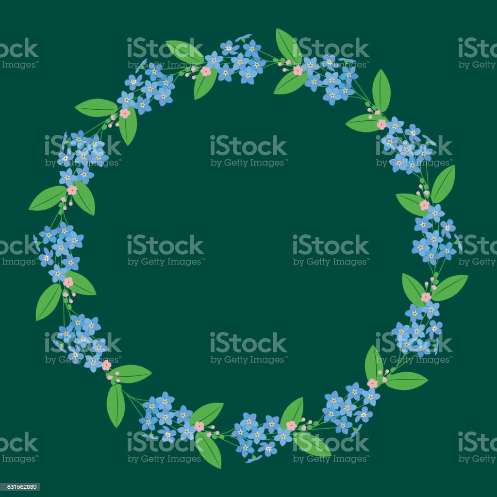 Myosotis forget-me-nots floral plant decor border wreath dark royalty-free myosotis forgetmenots floral plant decor border wreath dark stock vector art & more images of art