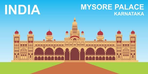palast von mysore, karnataka, indien - mysore stock-grafiken, -clipart, -cartoons und -symbole