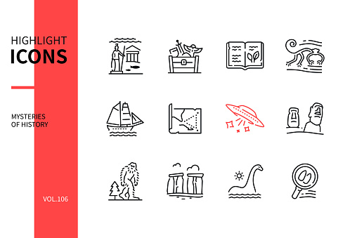 Mysteries of history - line design style icons set