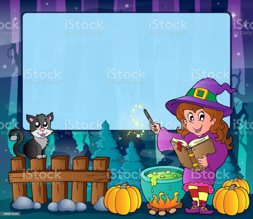 Mysterious forest Halloween frame 7 royalty-free stock vector art