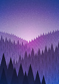Abstract nature landscape. Forest early morning. Vector illustration. Elements are layered separately in vector file.