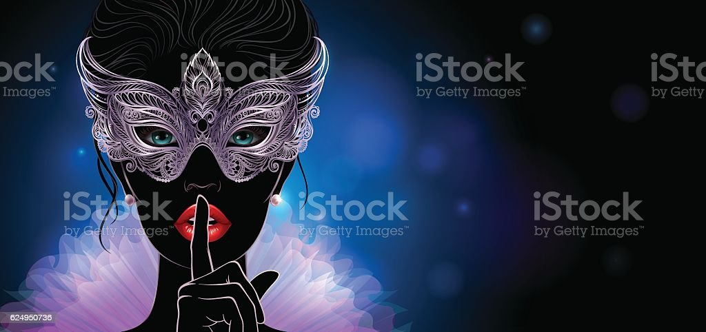 Mysterious lady in golden carnival mask. vector art illustration