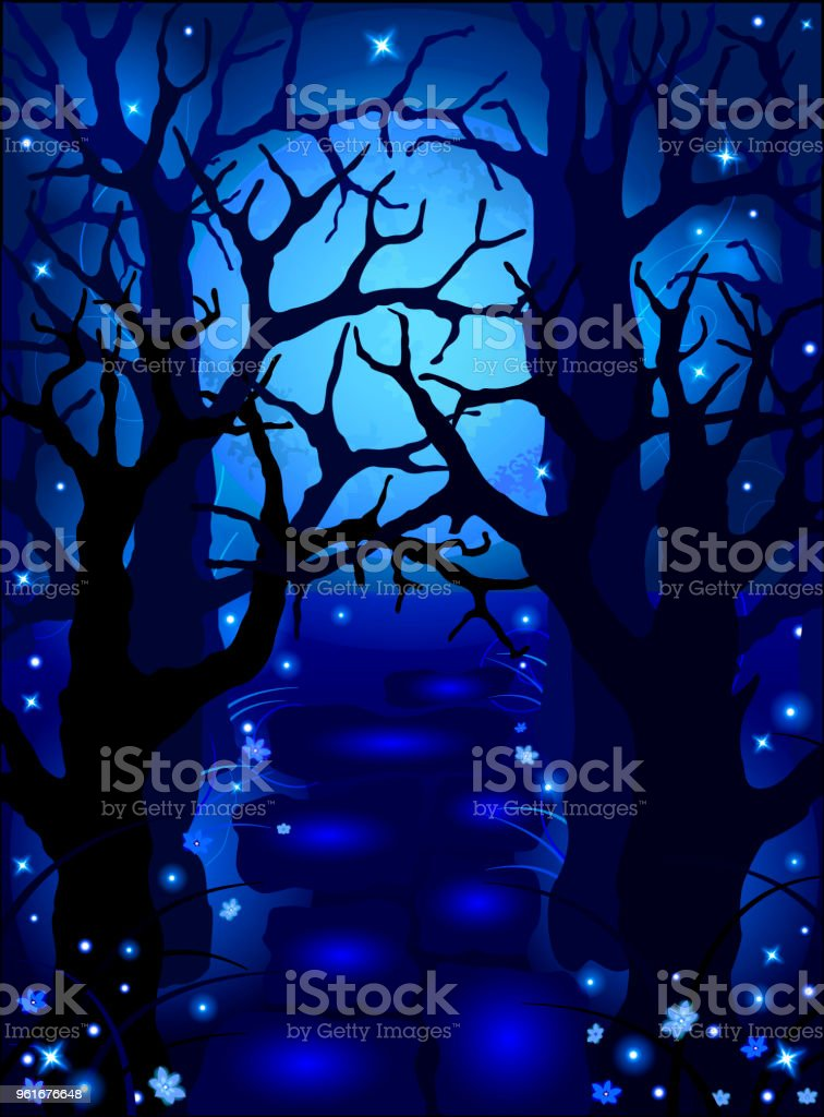 Mysterious magic forest in the moonlight and shining flowers and vector art illustration