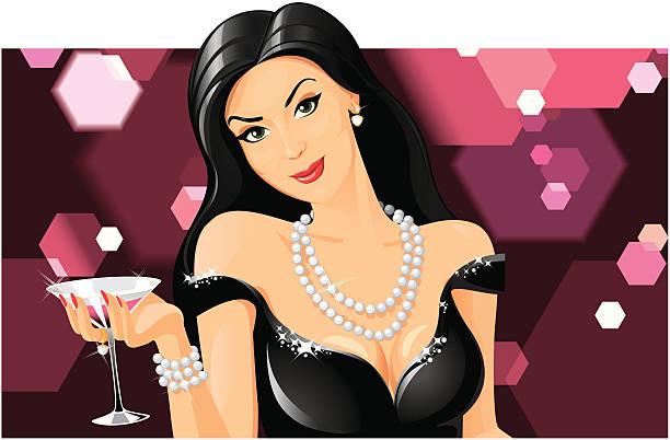geheimnisvolle martini lady - glasohrringe stock-grafiken, -clipart, -cartoons und -symbole