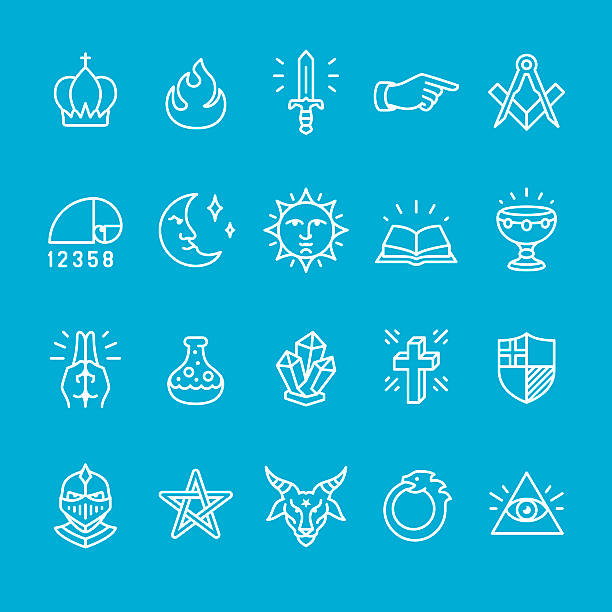 тайна и масонская lodge icons collection - freemasons stock illustrations
