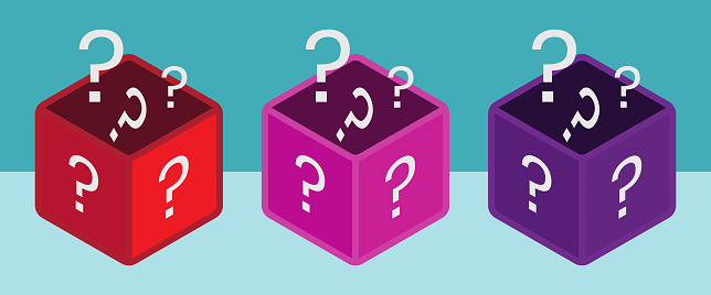 Mystery box or random loot box and gift box with line art vector icon for games and apps