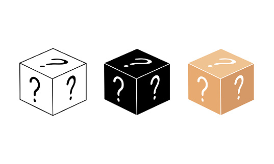 Mystery box or random loot in the cube or gift box with line. Box, package icon in white, black, beige color on an isolated white background. EPS 10 vector