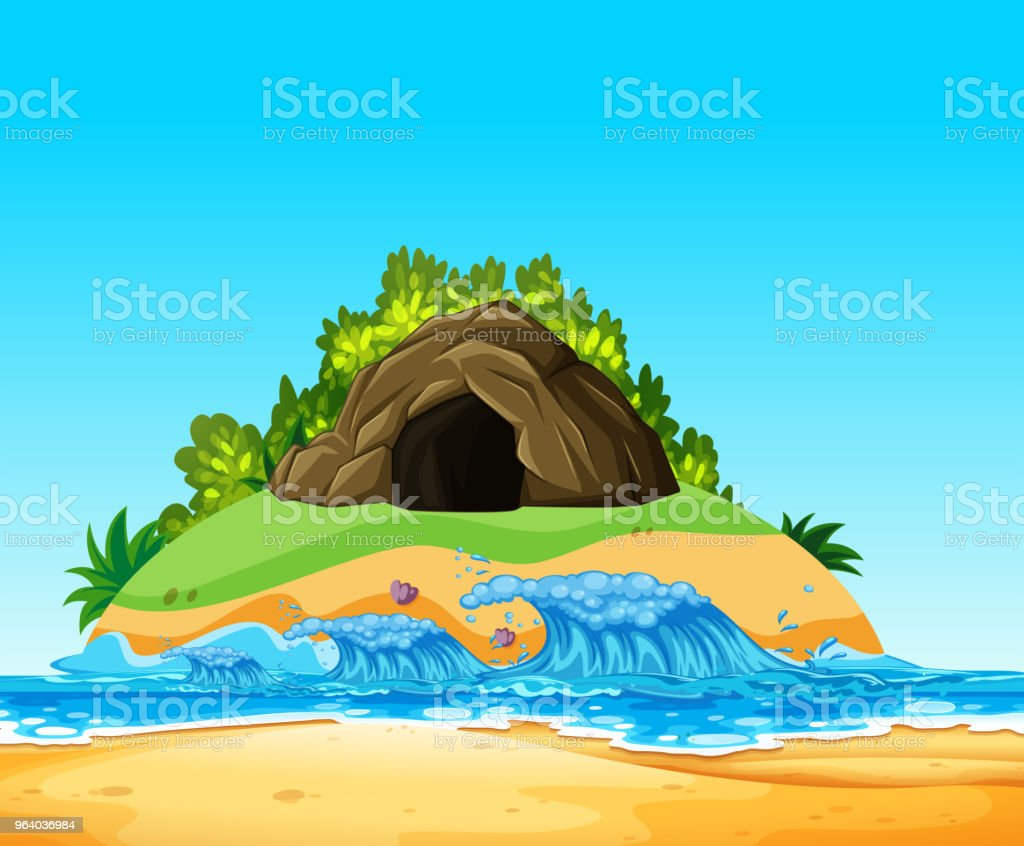 A Mystery Cave on Island - Royalty-free Adventure stock vector