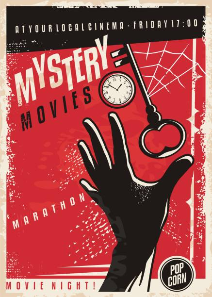 mystery movies marathon retro cinema poster design - тайна stock illustrations