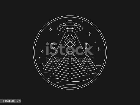 Mystery of Egypt white on black vector illustration