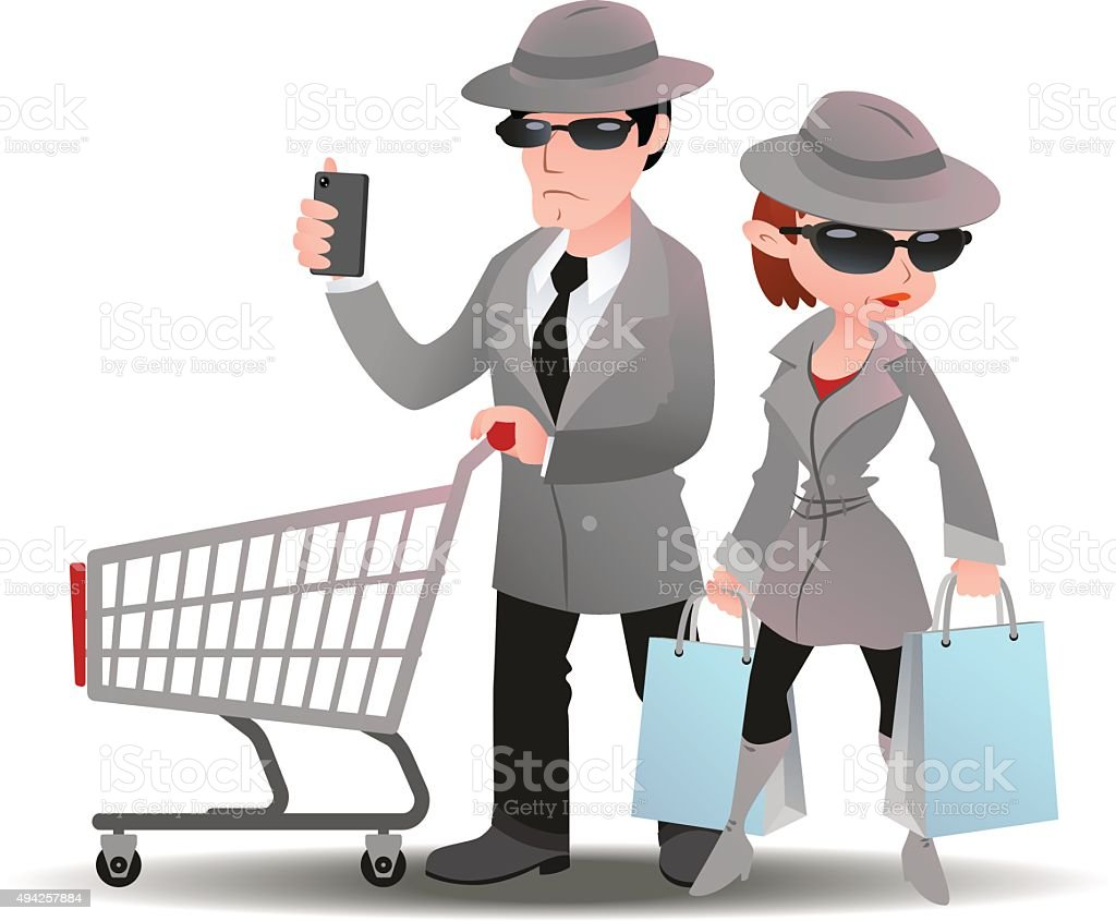 Mystery shopper man with shopping cart phone and woman bag vector art illustration