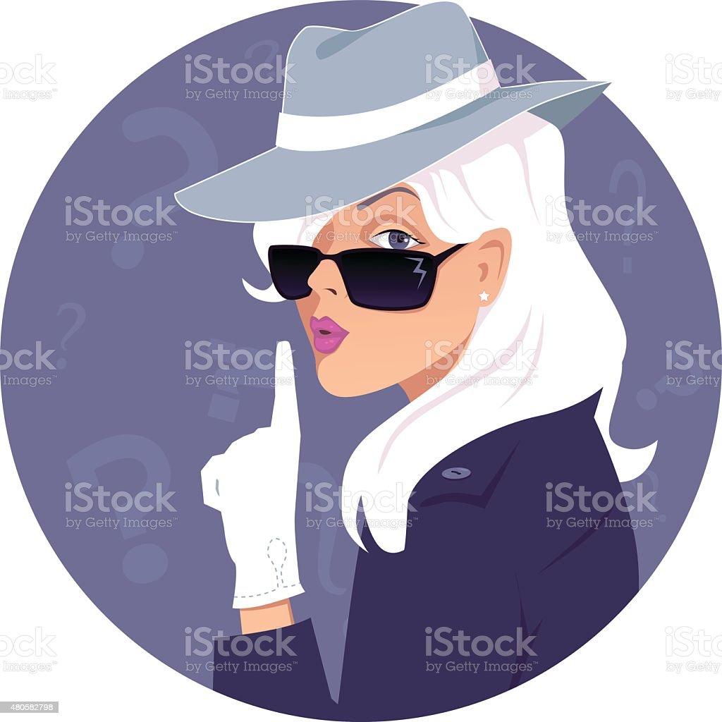 Mystery woman vector art illustration