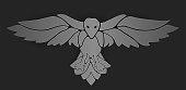 Mystic art with raven on dark background
