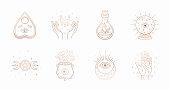 Mystic boho logo, design elements with moon, hands, star, eye, crystal bottle, ball future. Vector magic symbols isolated on white background.