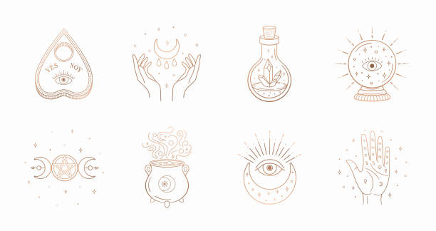 Mystic boho logo, design elements with moon, hands, star, eye, crystal bottle, ball future. Vector magic symbols isolated on white background Mystic boho logo, design elements with moon, hands, star, eye, crystal bottle, ball future. Vector magic symbols isolated on white background. voodoo stock illustrations