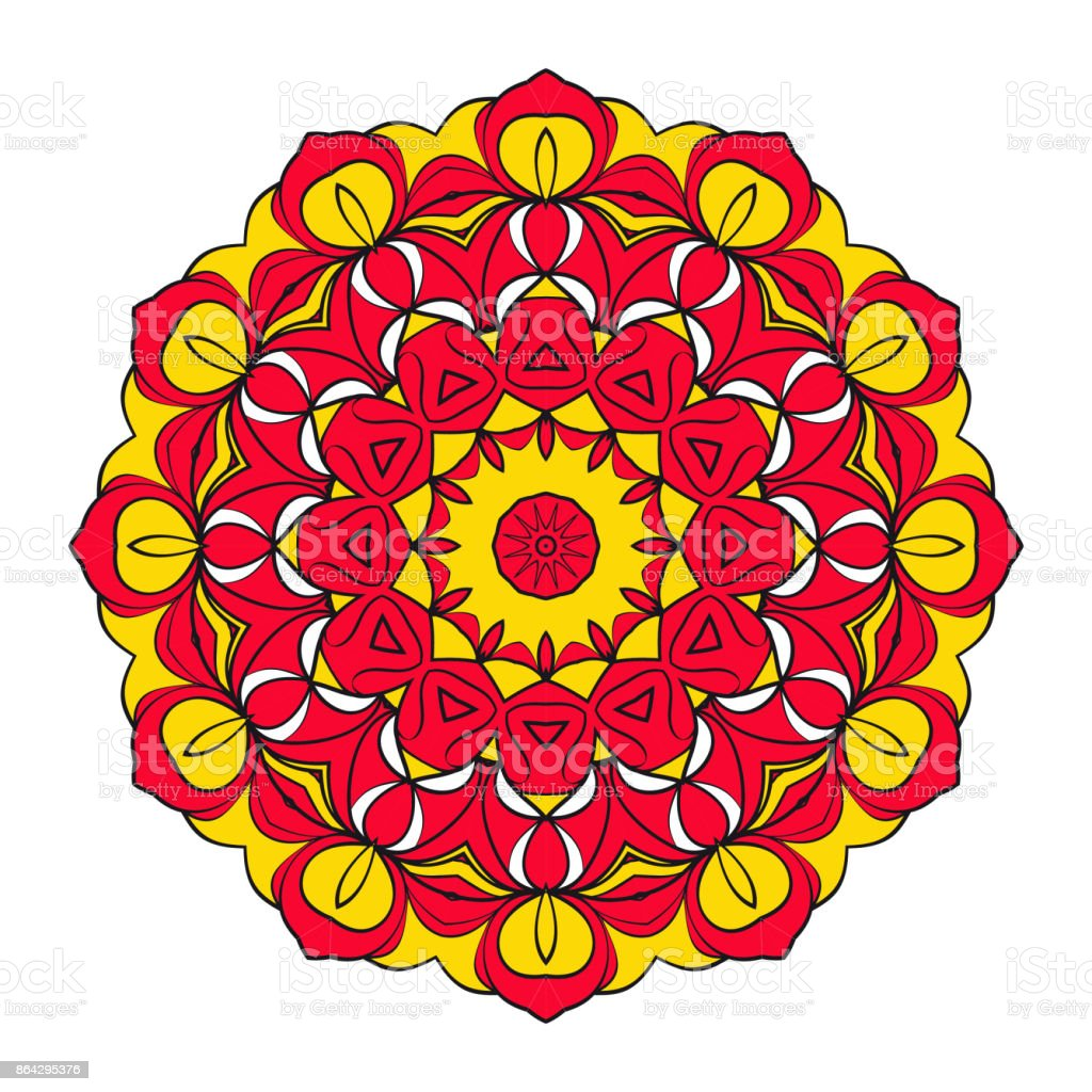 Mystic Flower Mandala. Vector illustration. Red, gold color royalty-free mystic flower mandala vector illustration red gold color stock vector art & more images of abstract