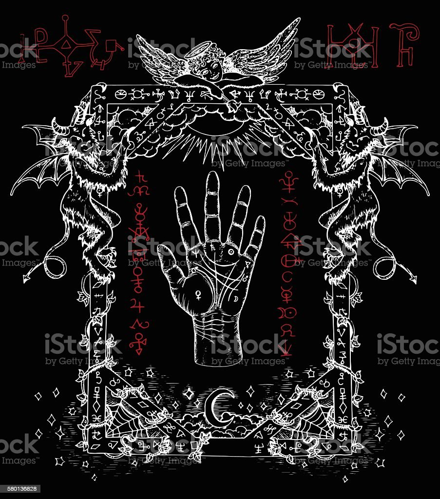 Mystic frame with chiromancy palm, demons and angel vector art illustration