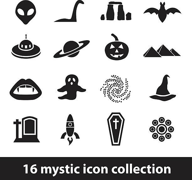 mystic icons vector art illustration
