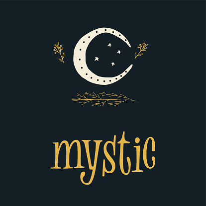 Mystic Moon Illustration With Lettering Sign Stock