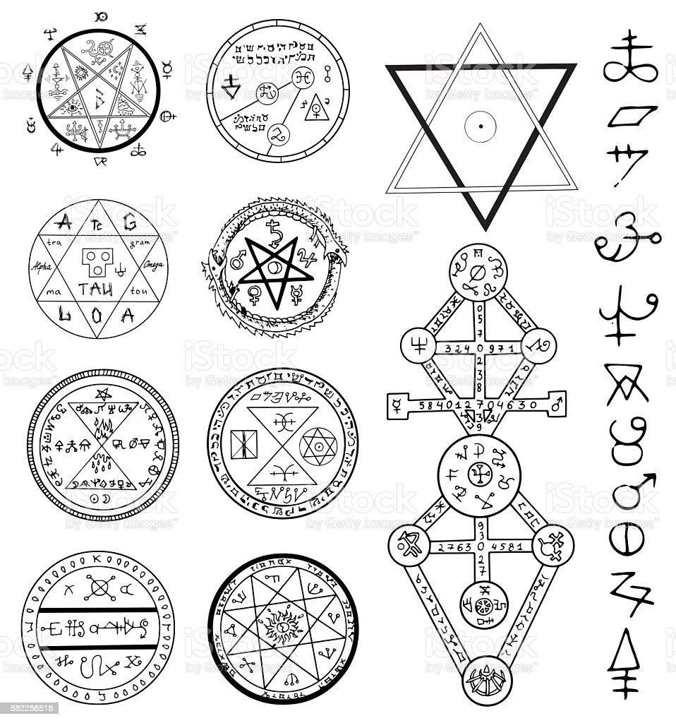 Mystic set with magic circles, pentagram and symbols vector art illustration