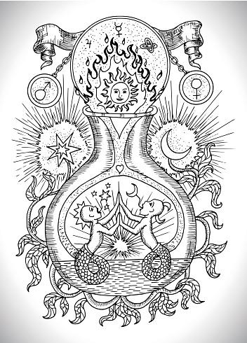 Mystic, spiritual and alchemical symbols, zodiac sign Gemini concept