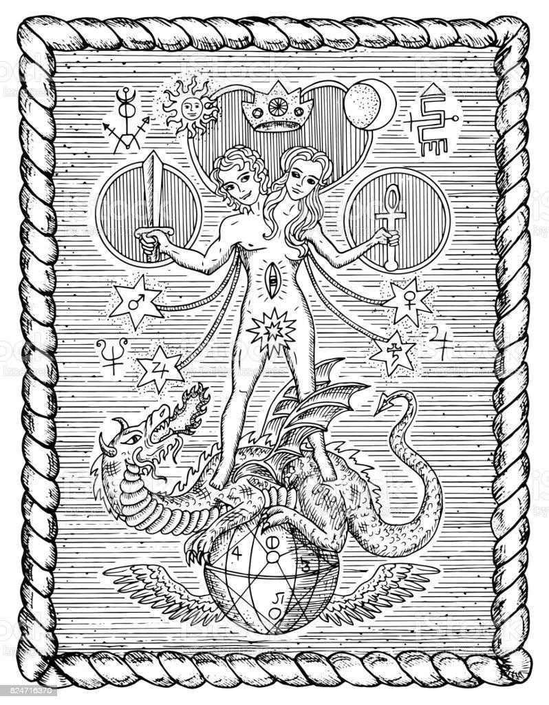 Mystische Symbole Zwitter Zwillinge Oder Geminikonzept Im Rahmen ...