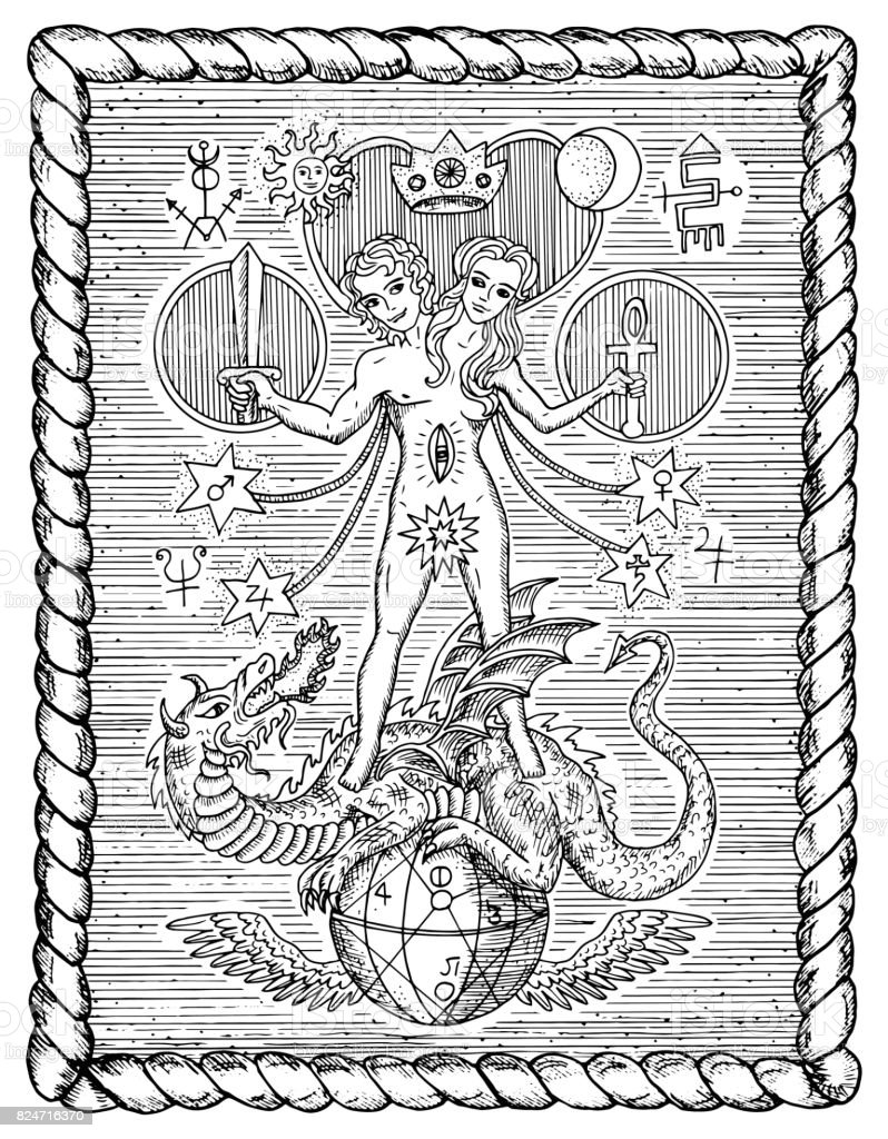 Mystic symbols, androgyne, twins or Gemini concept in frame vector art illustration