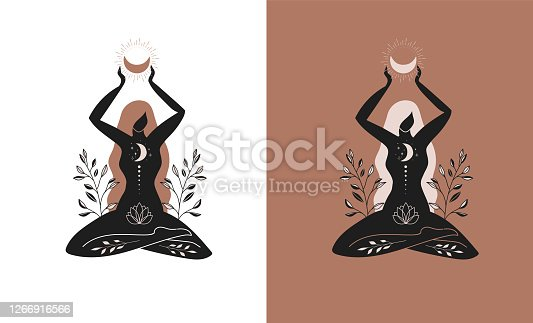 istock Mystic women, exotic woman, feminine concept illustration, beautiful esoteric women silhouettes . Flat style vector design 1266916566