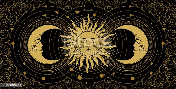 istock Mystical banner for astrology, tarot, boho design. Universe art, golden crescent and sun on a black background with clouds. Esoteric vector illustration, engraving. 1282658134
