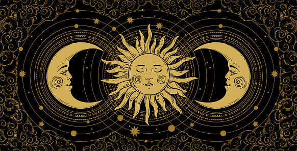 Mystical banner for astrology, tarot, boho design. Universe art, golden crescent and sun on a black background with clouds. Esoteric vector illustration, engraving.