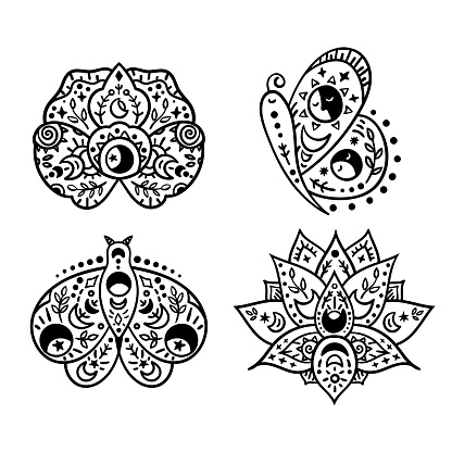 Mystical boho celestial butterfly and flowers isolated cliparts bundle, mystical collection, moon and stars, magic line crescent moon, esoteric objects - black and white vector illustration set