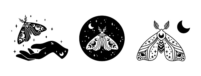 Mystical boho celestial butterfly or moth isolated cliparts bundle, mystical collection, witch hand, moon and stars magic line and silhouette esoteric objects - black and white vector illustration set