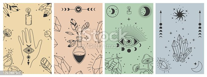 istock Mystical boho posters. Esoteric line prints with astrology symbols, crystals, potion, evil eye and occult hand. Tarot card vector concepts 1292897502