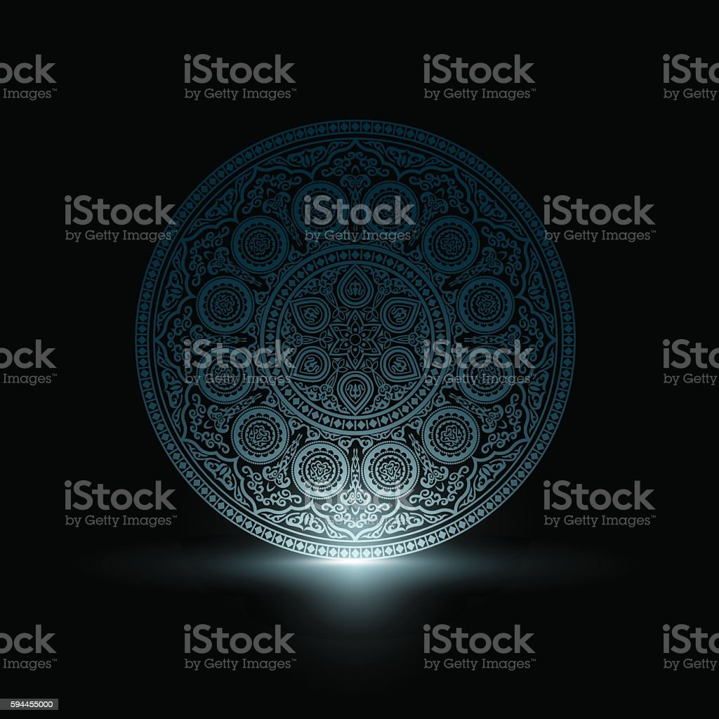 Mystical Delicate Blue Round Ornament Pattern with light vector art illustration